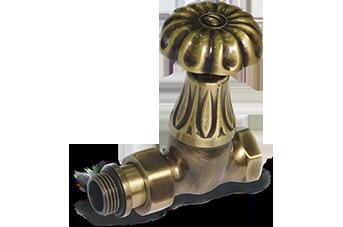 Прямой клапан для радиатора «ретро» золото